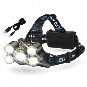 LED Headlamp Rechargeable Flashlight Brightest Waterproof 5 Lighting Modes Zoomable Helmet Headlight for Camping, Cycling, Hiking, Fishing, Running, Hunting or Emergency